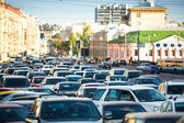 Cars stands in traffic jam in Moscow. — Stok fotoğraf