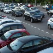Stok fotoğraf: MOSCOW - JUNE 13: Cars stands in traffic jam on city center, June 13, 2013, Moscow Russia. Moscow Mayor Sobyanin reconstructs suburbrailways, to solve problem of traffic jams in 2016.