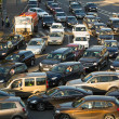 Stock Photo: MOSCOW - JUNE 13: Cars stands in traffic jam on the city center, June 13, 2013, Moscow Russia. Moscow Mayor Sobyanin reconstructs suburban railways, to solve problem of traffic jams in 2016.