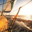 Stock Photo: Sailing regatta, during sunset.