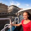 Teen girl on boat along channels St. Petersburg — Stok fotoğraf