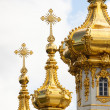 Closeup of golden cupola in Summer Gardens, Peterhof, Russia — Stockfoto