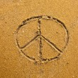 Inscription on in texture of sand: a symbol Pacifik — Stock Photo