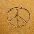 Inscription on in texture of sand: symbol Pacifik — Stock Photo #27462875