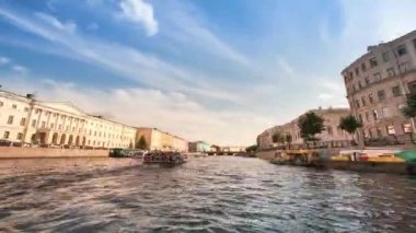Timelapse: On boat along channels St. Petersburg, Russia (HD) — Stock Video