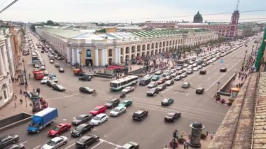 Top view of the Metro and mall Gostiny Dvor on Nevsky Prospect — Stock Video