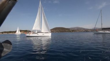 PELOPONNESE, GREECE- MAY 8: Boats Competitors During of 9th spring sailing regatta Ellada 2013, May 8, 2013 in Peloponnese, Greece — Stock Video