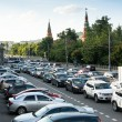 MOSCOW - JUNE 13: Cars stands in traffic jam on the city center, June 13, 2013, Moscow Russia. Moscow Mayor Sobyanin reconstructs suburban railways, to solve problem of traffic jams in 2016. — Stock Photo