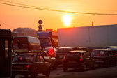ST.PETERSBURG, RUSSIA - JUNE 25: Shortness of traffic due to repairs Greater Obukhov (cable-stayed) Bridge, Jun 25, 2013, St.Petersburg Russia. Congestion length of 6.3 km was formed on the Ring Road. — Stock Photo