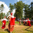 TERVENICHI, RUSSI- JUL 7: Local people celebrated IvKupalDay, Jul 7, 2013, Tervenichi, Russia. celebration relates to summer solstice and includes number of fascinating Pagrituals. — Stock Photo #28697097