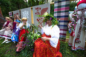 TERVENICHI, RUSSIA - JUL 7: Local people celebrated Ivan Kupala Day, Jul 7, 2013, Tervenichi, Russia. The celebration relates to the summer solstice and includes a number of fascinating Pagan rituals. — 图库照片