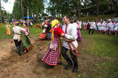 TERVENICHI, RUSSIA - JUL 7: Local people celebrated Ivan Kupala Day, Jul 7, 2013, Tervenichi, Russia. The celebration relates to the summer solstice and includes a number of fascinating Pagan rituals. — Stok fotoğraf