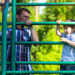 Father and son playing on the playground. — Stock Photo