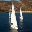 Top view - sailing yachts race. — Stock Photo