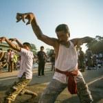 NAKHON CHAI, THAILAND - MAR 23: Unidentified participant Master Day Ceremony able Khong Khuen - spirit possession during the Wai Kroo at Wat Bang Pra on Mar 23, 2013 in Nakhon Chai, Thailand. — Stock Photo #28912723