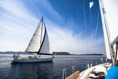 Regatta on the sea. Sailboat. Yachting. Sailing. Travel Concept. Vacation. — Stock Photo