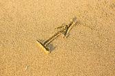 Zodiac sign Sagittarius, drawn on the facture beach sand. — Stock Photo