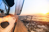 Sailing regatta, during sunset — Stock Photo
