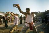 NAKHON CHAI, THAILAND - MAR 23: Unidentified participant Master Day Ceremony able Khong Khuen - spirit possession during the Wai Kroo at Wat Bang Pra on Mar 23, 2013 in Nakhon Chai, Thailand. — Stock Photo
