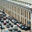 ST.PETERSBURG, RUSSIA - JUN 27: Cars stands in traffic jam on the city center, Jun 27, 2013, SPb, Russia. Shortness of traffic due to repairs Greater Obukhov (cable-stayed) Bridge. — Stock Photo