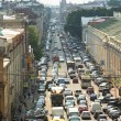 ST.PETERSBURG, RUSSIA - JUN 27: Cars stands in traffic jam on the city center, Jun 27, 2013, SPb, Russia. Shortness of traffic due to repairs Greater Obukhov (cable-stayed) Bridge. — Photo