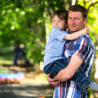 Father and son outdoors — Stockfoto