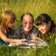 Portrait of cute kids reading book in natural environment together. — Stok fotoğraf