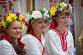 TERVENICHI, RUSSIA - JUL 7: Unidentified girl during Ivan Kupala Day, Jul 7, 2013, Tervenichi, Russia. The celebration relates to the summer solstice and includes a number of fascinating Pagan rituals — Stock Photo