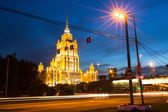 Hotel Ukraine at night in Moscow. — Stock Photo