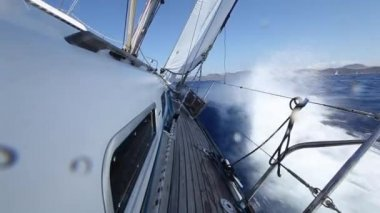 Sailing on a yacht during regatta. View from a deck