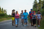 Unidentified participants during of local competitions in Nordic walking devoted to the Day of Health — Stock fotografie