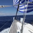 Sailing boat shot in full HD at the Mediteranean sea. — Vídeo Stock