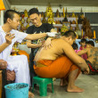 Unidentified monk makes traditional Yantra tattooing during Wai Kroo Master Day Ceremony — Stock Photo