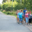 Unidentified participants during of local competitions in Nordic walking devoted to the Day of Health — Stock Photo