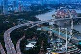 Una vista della città dal tetto marina bay hotel — Foto Stock