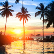 Sunset at beach luxury resort in tropics. — Stok Fotoğraf #30693037
