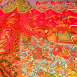 Fragment of painting the interior of a Buddhist temple in Thailand — Stock Photo