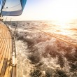 Sailing to the Sunrise. Luxury yacht. — Stock Photo