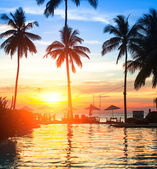 Sunset at a beach luxury resort in tropics. — Stockfoto