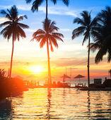 Zachód słońca na plaży luksusowy ośrodek w tropikach. — Zdjęcie stockowe