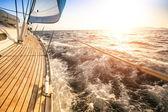 Sailing to the Sunrise. Luxury yacht. — Stockfoto
