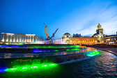 Kievskiy railway station in Moscow at night time. — Stock Photo