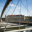 Footbridge Ojca Bernatka - bridge over the Vistula River in Krakow, Poland — Stock Photo