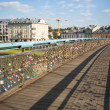 Footbridge OjcBernatk- bridge over VistulRiver in Krakow, Poland — Foto de stock #30969347