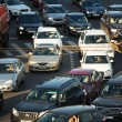 Cars stands in traffic jam on the city center, Moscow Russia — Stock Photo