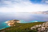 Moni island Bay, Greece, top view. Sailing in the Aegean Sea. — Stock Photo
