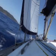 Stock Video: Sailing in wind through waves