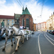 Stock Photo: One of streets in historical center in Krakow, Poland