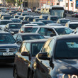 Cars stands in traffic jam on the city center, Moscow, Russia — Stock Photo