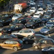 Stock Photo: Cars stands in traffic jam on the city center, Moscow, Russia